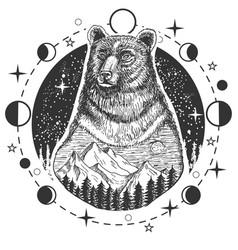 bear head tattoo or t-shirt print design vector image
