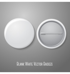 Blank white badge Both sides - face and back vector image vector image