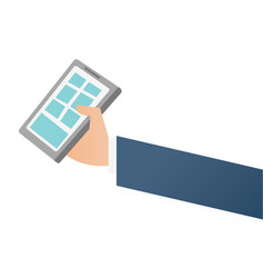 businessman hand holding a smartphone vector image