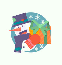 christmas card with snowman holding presentflat vector image vector image