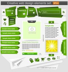 creative web design elements set green vector image