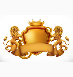 crown lions and shield 3d icon vector image