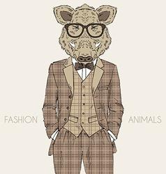 Fashion of wild boar in tweed suit vector