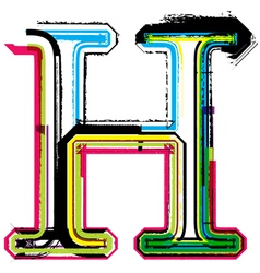 Grunge colorful font Letter H vector image vector image