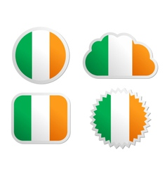 Ireland flag labels vector image