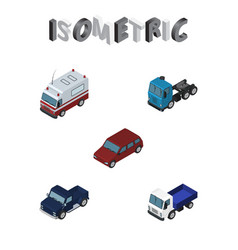 Isometric automobile set of first-aid car suv vector