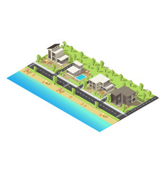 isometric coastal suburban buildings concept vector image
