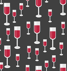 Seamless Pattern with Glasses of Red Wine vector image