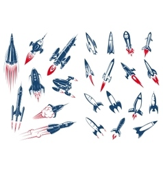 Space rocket ships and military missiles vector image