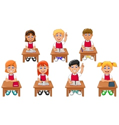 funny students cartoon learning vector image vector image