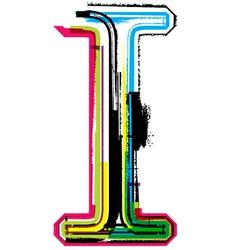 Grunge colorful font Letter I vector image