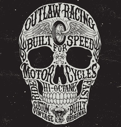 Motorcycle inspired typography skull vector image