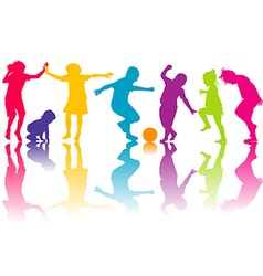 Set of silhouettes of colored children vector image vector image