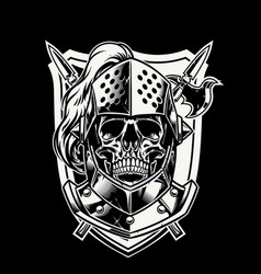 skull of knight warrior with crossed weapon vector image vector image