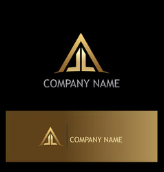 Triangle roof house construction gold logo vector