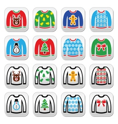 Ugly Christmas sweater on jumper buttons set vector image vector image