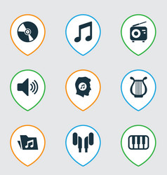 Audio icons set collection of tuner sound vector