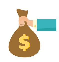 businessman hand holding a money bag vector image