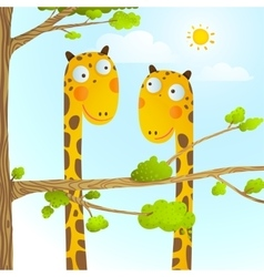 Fun Cartoon Baby Giraffe Animals in Wild for Kids vector image