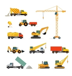 Set of Heavy Construction Machines vector image