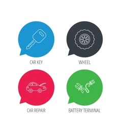 Car key wheel and repair service icons vector image vector image