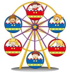 Happy kids riding the ferris wheel vector image vector image