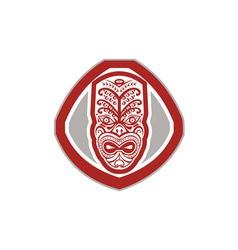 Maori Mask Face Front Shield Retro vector image