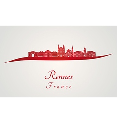 Rennes skyline in red vector image vector image