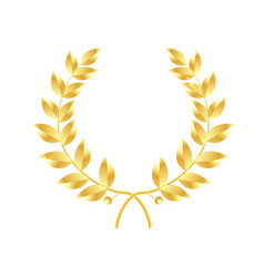 wreath of leaves icon gold laurel wreath symbol vector image