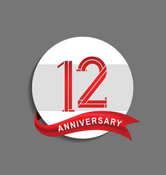 12 anniversary with white circle and red ribbon vector