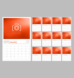 2017 wall calendar planner design template set vector image