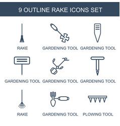 9 rake icons vector