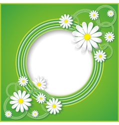 Abstract green background with flower chamomile vector