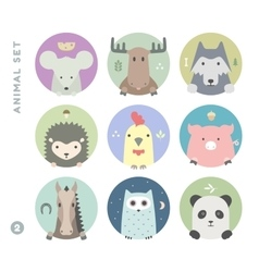 Animal set colorful portrait in flat graphics vector
