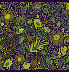Autumn floral seamless pattern with leaves vector