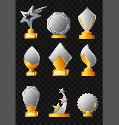 awards - realistic set of trophies vector image