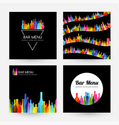 bar menu design collection card and label vector image