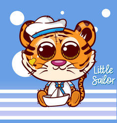 bashower greeting card with cute sailor tiger vector image