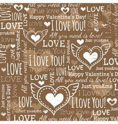Beige background with valentine heart and wishes t vector