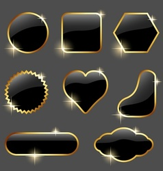 Black Glossy Labels vector image
