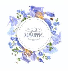 Blue flower round banner vector