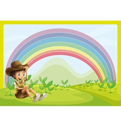 Boy and rainbow vector image