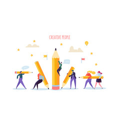 business people with pencils creative characters vector image