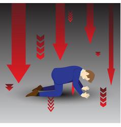 Businessman kneeling among downward arrows vector