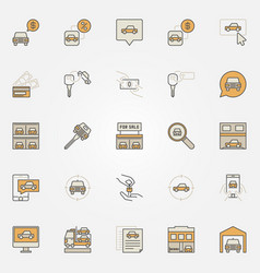 buying a vehicle colorful icons vector image