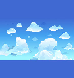 cartoon blue sky realistic summer clouds clean vector image