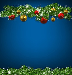 Christmas blue background with fir branches vector