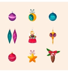 Christmas Tree Decorations Icon Set vector image