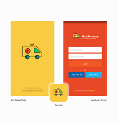Company ambulance splash screen and login page vector