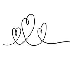 continuous line drawing love sign with hearts vector image